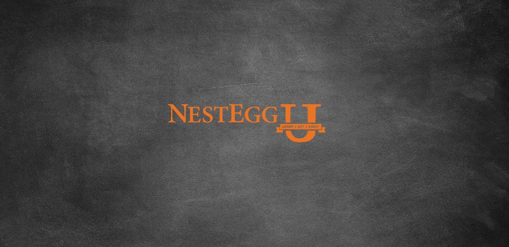 NestEgg U logo on a chalkboard