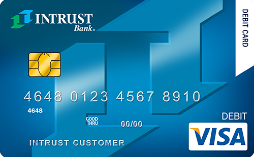 intrust debit card with logo as background