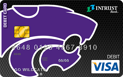 Debit card with Kansas State logo as background
