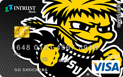Debit card with Wichita State mascot as background