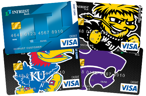 The INTRUST Visa Debit Card in exclusive Shocker, Jayhawk, and Wildcat designs.