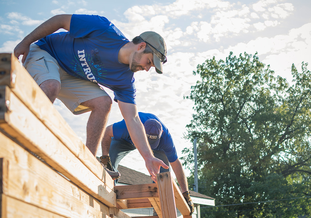 INTRUST Employees help construct a house for Habitat for Humanity
