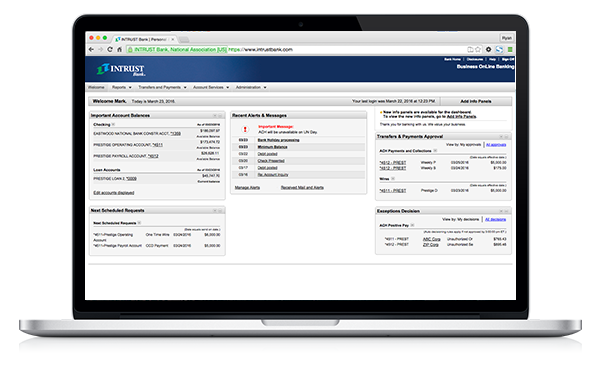Business Online Banking Screenshot