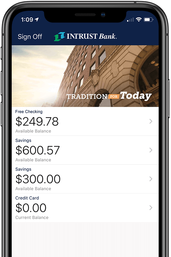 INTRUST Mobile Banking on an iPhone