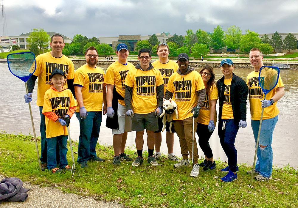 INTRUST employees participate in the Arkansas river cleanup
