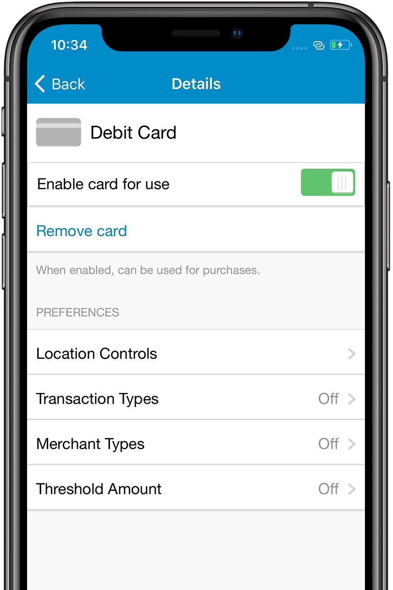 Screenshot of card controls feature in INTRUST Mobile Banking on an iPhone