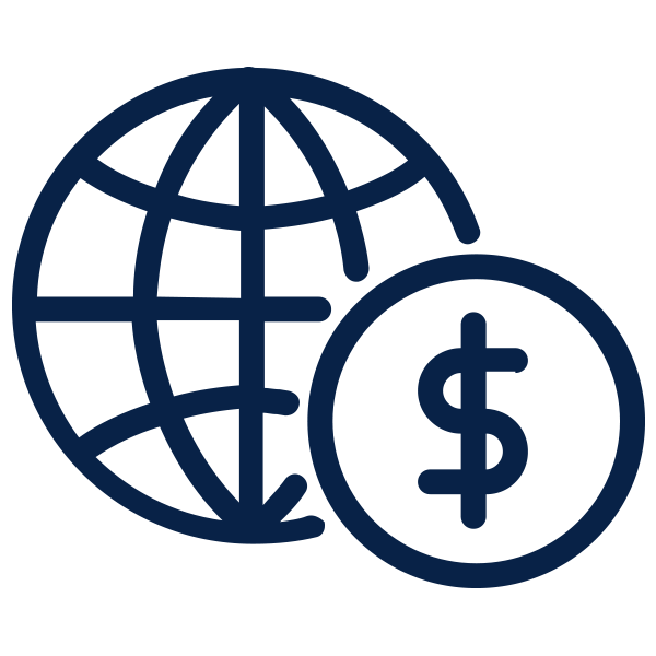 Outline of globe and money sign