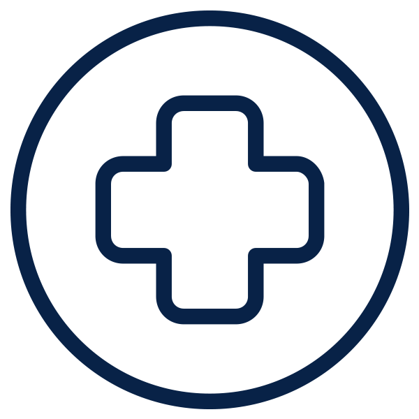 Outline of cross inside of circle which symbolized health care