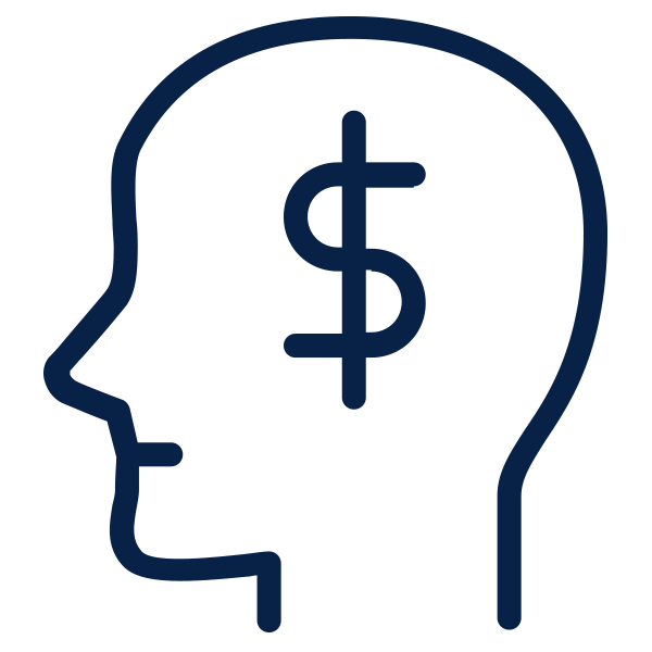 Outline of head with a money sign inside