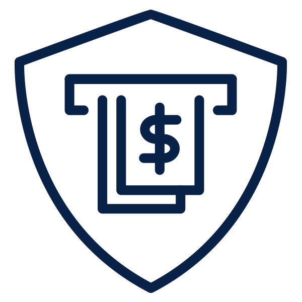 Outline of shield protecting money