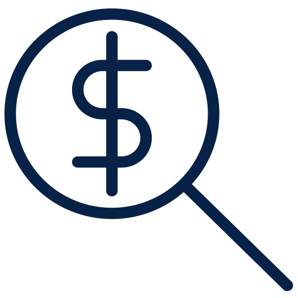 Magnifying glass hovering over a dollar sign