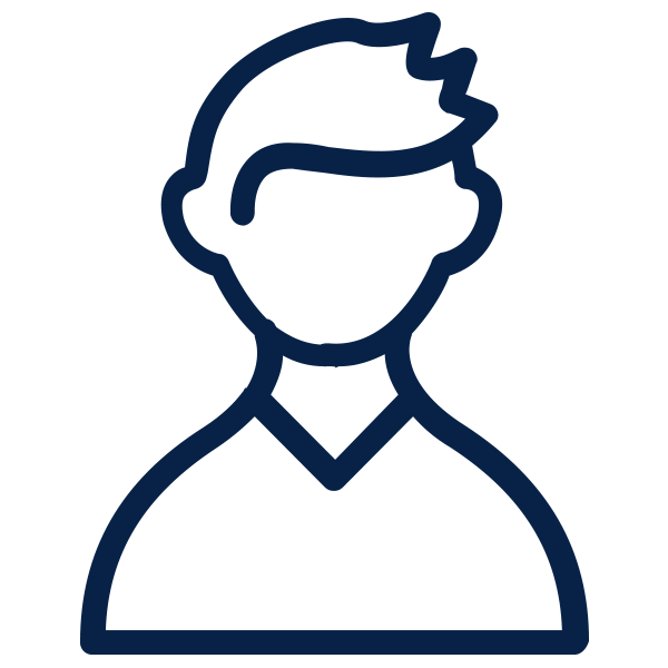 Outline of person to depict a user